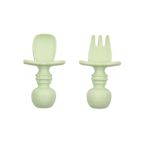 Bumkins Silicone Chewtensils, Training Utensils, Baby Led Weaning, 6 Months+, Spoon and Fork Pair - Sage Green