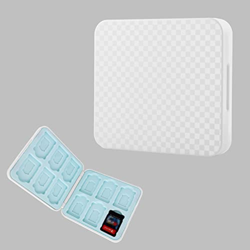 Funda para Almacenamiento de Juegos Compatible con Nintendo Switch,Tarjetas de Juego y Micro SD Compatible con Switch & Switch Lite,12 Ranuras para Tarjetas SD (Blanco)