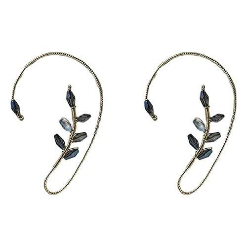 laoonl 1 par de pendientes para mujer, sin perforaciones, elegantes perlas de cristal, para mujeres y niñas