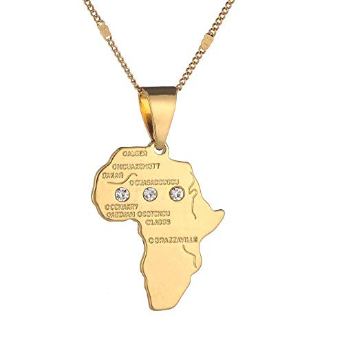 QAZQAZ African Map Pendant Necklace Women Girl 24K Gold Color Pendant Jewelry African Map Hiphop Jewelry-Gold-1 Map Pendant Necklace,Men Women Gift