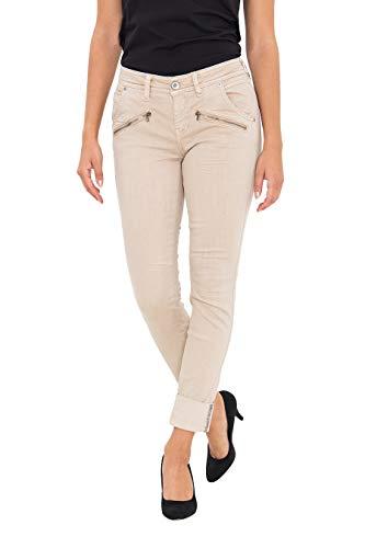 ATT Jeans Damen 7/8 Hose Mit Saumaufschlag Und Ziersteinen Lola Aufschlag 7/8 Hose Slim Fit Unifarben Lola