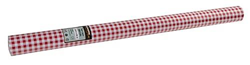 Pro Nappe - Réf 802070I - Nappe jetable en papier gaufré -Gaufrage unique, esthétique et profond - Rouleau de 20 M de long et 1,20 M de large - Couleur vichy rouge -Fabriqué en France