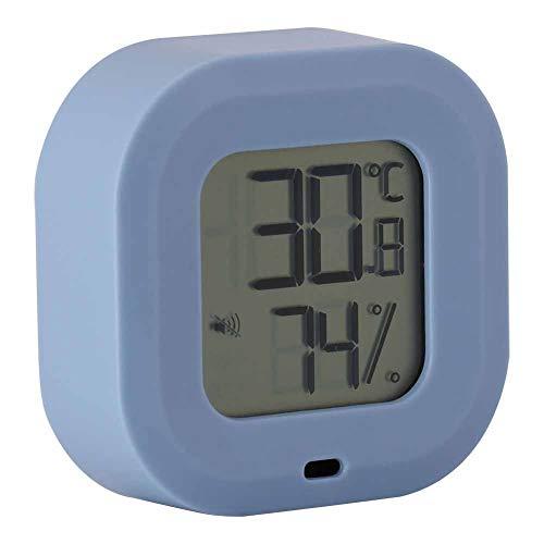 FECAMOS Medidor electrónico de Temperatura y Humedad, en Varios Idiomas Registre la ubicación Termómetro Higrómetro Termohigrómetro para Salas de Almacenamiento para bodegas de Vino(Azul)