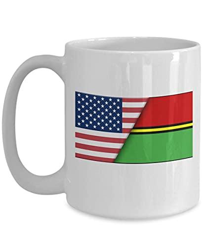 Weiße Kaffeetasse mit USA-Flagge von Vanuatu, Geschenk für Einwanderer