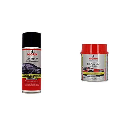 NIGRIN Auto Karosserie Reparatur-Set, Lackspray schwarz glänzend, Performance Füll-Spachtel, Größe M