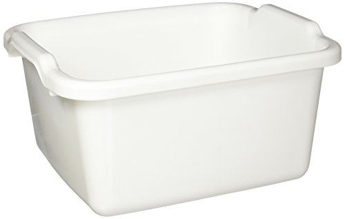 Rubbermaid Antimicrobial Dish Bucket, 15.6-Quart, Clear (FG2970ARWHT),White
