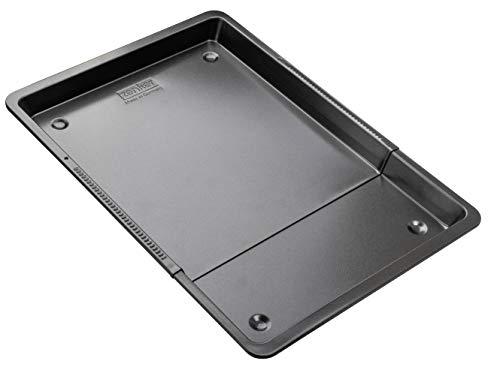 Zenker Universal-Backblech 37-52 cm BLACK METALLIC, Backblech rechteckig mit Antihaftbeschichtung, Ofenblech ausziehbar, Herdbackblech verstellbar (Farbe: Schwarz Metallic), Menge: 1 Stück
