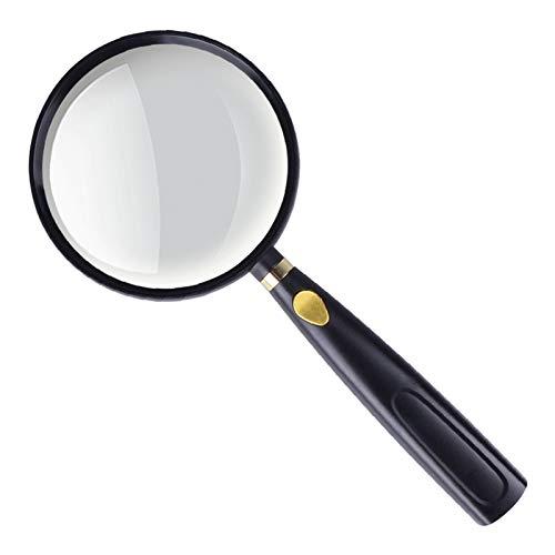 [LOSCHEN]手持ちルーペ 倍率5x 直径90mm拡大鏡 ガラスレンズ 滑り止めハンドル シンプルデザイン 地図 新聞 宝石 生物学 読書用など 子ども/高齢者/専門家用虫眼鏡(ブラック&ゴールド)