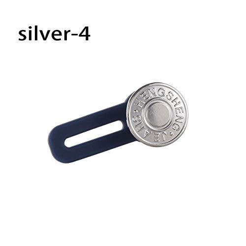 2 stks jeans intrekbare knoppen vintage metalen broek kledingstuk haken broek taille extender moederschap naaien accessoires benodigdheden, zilver 4
