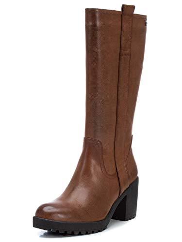 XTI - Bota para Mujer - Tacón Alto - Cierre con Cremallera - Color Camel - Talla 38