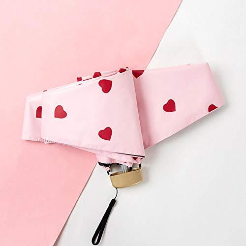 WXCL Herzförmig Bedruckte Sonnenschirm Herrentasche Damen Regenschirm Mini Vinyl Faltbarer Sonnenschirm Rain Lady, Pink