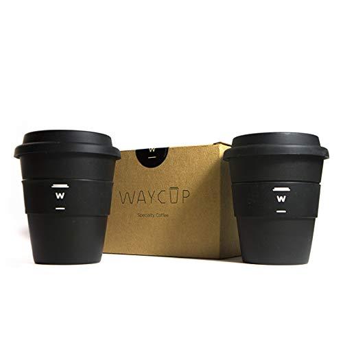 S Vaso de bambú para café. Reutilizable, con Tapa de Silicona y diseño Minimalista, 350 ml. Pack de 2 Unidades