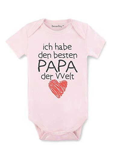 BesserBay Baby Mädchen Body - Besten Papa der Welt - Strampler Rosa 9-12M
