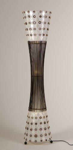 Stehleuchte - Muschellampe mit Bambus und Holz 140 cm hoch