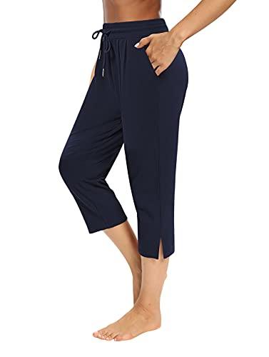 Sarin Mathews Womens Capri Yoga Pants Loose Workout Joggers Drawstring Sweatpants Lounge Pajama Capris Pants with Pockets Navy XL
