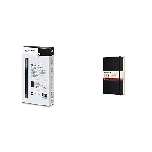 Moleskine Pen+ Ellipse Smartpen, schwarz + Papertablet L/A5, liniert, schwarz