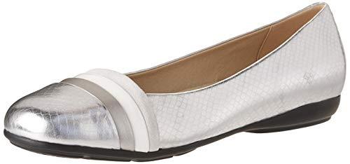 Geox D Annytah A, Ballerine Donna, (Silver/White C0434), 35 EU