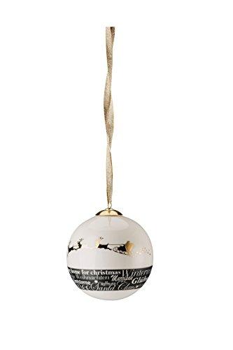 Hutschenreuther 02478–725944–27938 Merry Christmas Shiny Gold Grande Boule en Porcelaine Luge, diamètre 8 cm, Porcelaine, 9 x 9 x 10 cm