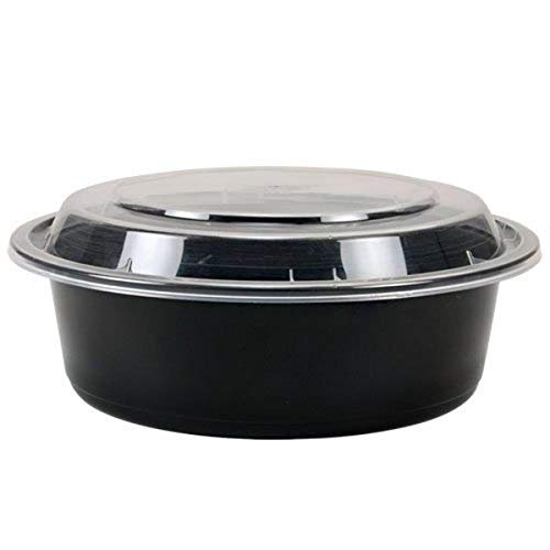 """TRiPAK MT0750B Round Black Microwaveable Container with Lid, Kari Out 7"""", 32 oz. (Pack of 150)"""