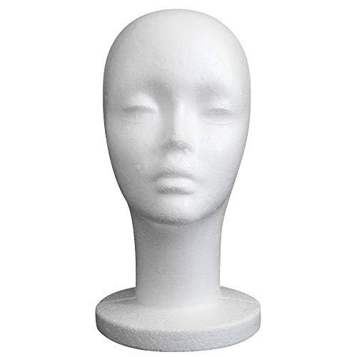 Vovotrade® Femme Styromousse Perruque Chapeau Lunettes Cheveux Styromousse Perruque Mannequin Stand Affichage Chef Modèle Poitrine