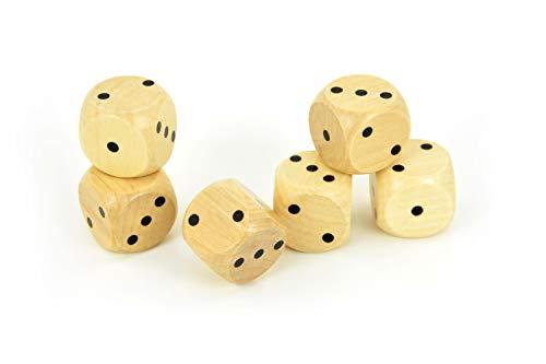 FLIXI Spielwürfel aus Holz in TOP QUALITÄT Augenwürfel 1-3 klein 6er Set