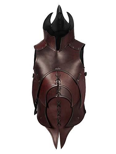 Andracor - Handgearbeitete dämonische Lederrüstung mit Klingenbrechern für alle furchteinflößenden Kreaturen - individuell einsetzbar für LARP; Fantasy, Mittelalter & Cosplay - Braun