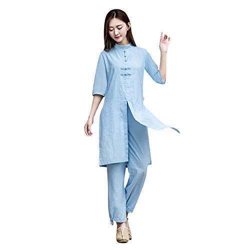 KSUA Damen Tai Chi Anzug Leinen Kampfkunst Anzug Yoga Anzug Traditioneller chinesischer Meditationsanzug mit halben Ärmeln für Kung Fu Wing Chun, Blau EU L/Etikett XL