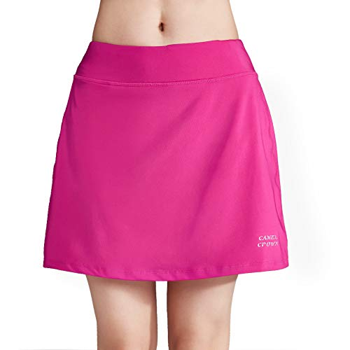 CAMELSPORTS Women's Active Athletic Skort Lightweight Skirt with Pockets Shorts for Running Tennis Golf Deep Pink