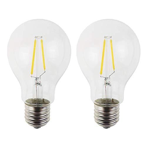 Bombilla LED Edison regulable 2 W, bombilla filamento equivalente a base media, 200 lm, bombilla filamento LED retro, adecuada para el hogar en interiores y exteriores, 2 paquetes, blanco cálido