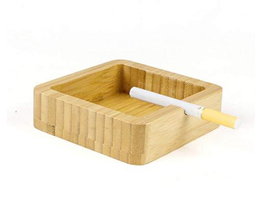 LILICEN Cenicero, Madera Cenicero Uso en el hogar Multifuncional Regalo de la decoración cenicero del Cigarrillo Simple (10 x 10 x 2,8 cm) de Madera del Color