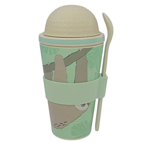 ebos Müsli-to-Go Becher aus Bambus | Müslibecher, Müslischale, Joghurtbecher | wiederverwendbar, umweltfreundlich, spülmaschinengeeignet, Verschiedene Designs (Faultier)