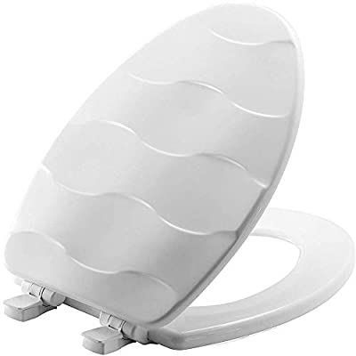 MAYFAIR 133SLOW 000 Sculptured Basket Weave Toilet Seat will Slow Close and Never Loosen, ELONGATED, Durable Enameled Wood, White