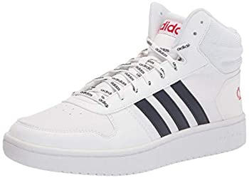 adidas Men s Hoops 2.0 Mid Basketball Shoe White/Ink/Scarlet 9