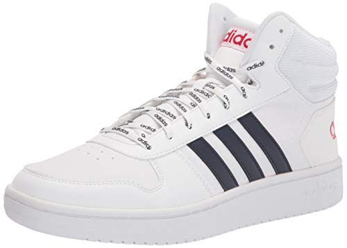 adidas Men's Hoops 2.0 Mid Basketball Shoe, White/Ink/Scarlet, 10