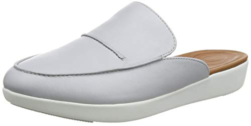 FitFlop Womens Serene Leather Mule Shoes, Pearl, US 8.5
