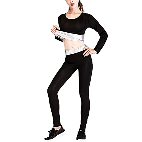 Leikance Damen Fitness Schwitzen Saunaanzug Neopren Schlankheits Shaper Hose + Tops Fettverbrennung Taille Trainer Gewichtsverlust Set