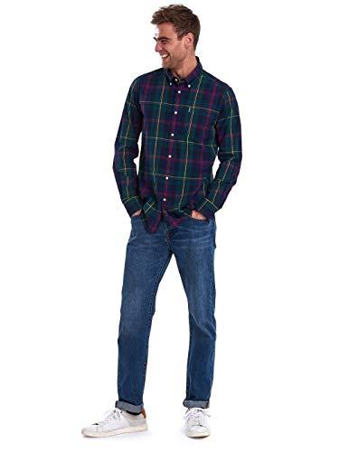 Barbour Herrenhemd, kariert, Grün und Blau, Grün L
