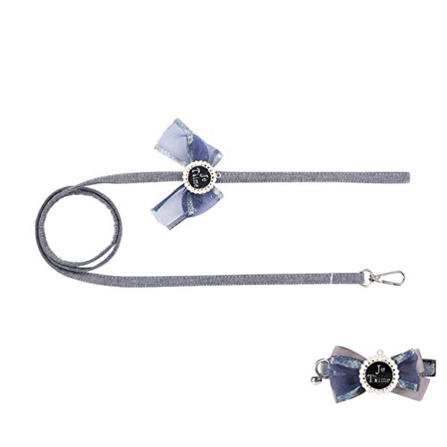 Xinwcang Haustier Hundehalsband und Leine Set Hunde Fliege Kragen Hunde Halsbände mit Glocke Hochzeit Kragen für Kleine Hunde Als Bild3 M