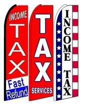 Income Tax Fast Refund, Tax Services, Income Tax King Swooper Feather Flag Sign- Pack of 3 (Hardware Not Included)