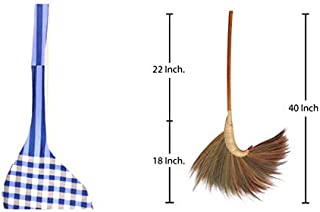 Natural Grass Broom 100% Handmade with a Bamboo Broomstick Handle and Nylon Hand Grip - Thai Broom for Indoor Outdoor Use - Soft, Large, Wide, Vintage and Decorative Natural Asian Broom