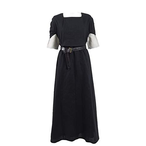 GGaammee Thrones Stark Costume Cosplay Dress with Belt Halloween Outfit Suit Women (Women XL, Black)