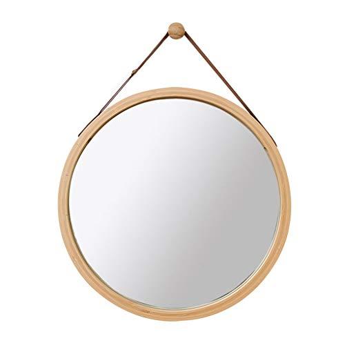 Miroir rond mural avec bandoulière réglable en similicuir | bambou encadrée Miroirs de salle de bain muraux Miroir à maquillage cosmétique Décoration Miroirs