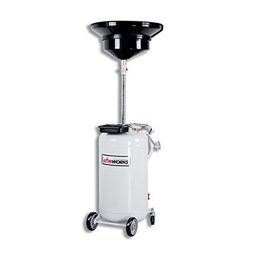 Lubeworks Oil Drain Tank Air Operated 24Gallon / 90 Liter Portable Heavy Duty Adjustable Height Quick Drain, Easy Setup, PRO Level for Fuel, Lube, Diesel, etc.