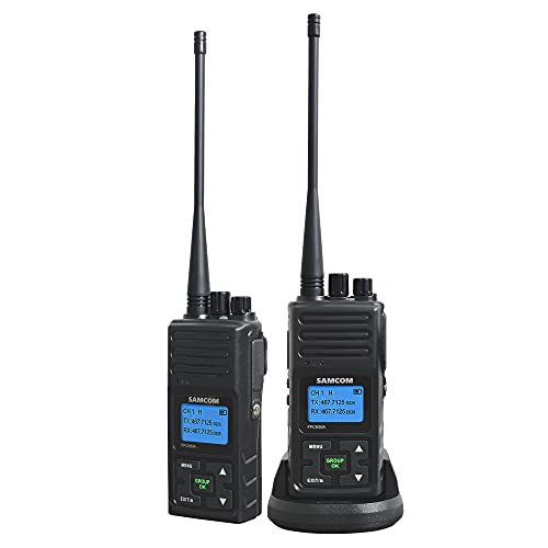 SAMCOM Two Way Radios Long Range Rechargeable, Heavy Duty 2-Way Radio for Adults,5 Watt High Power Walkie Talkie for Warehouse, Security Battery/Group Call Function (Black 2 pcs)