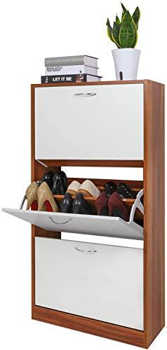 Meerveil Schuhkipper mit 3 Klappen, Verstellbarer Schuhschrank Schuhkommode 2 Schuhablagen 63 x 120 x 24 cm (Rehbraun-Weiß)