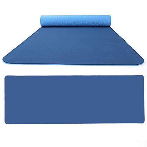 Andouy Yogamatte Fußmatten aus Hochdichtem Schaumstoff rutschfest Zweifarbig Trainingsmatte – 183X61X0,6CM – für Gym Yoga Sport Gymnastik Fitness Pilates(183X61X0.6CM.Dunkelblau)