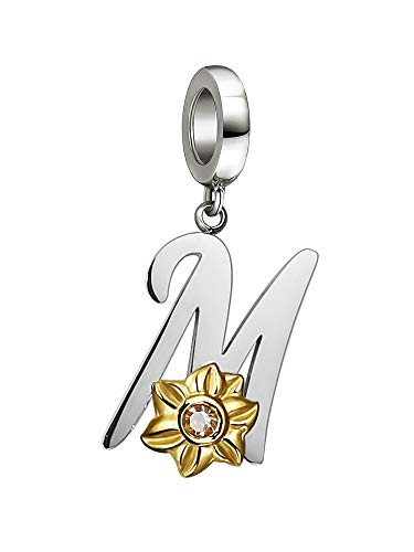 Shining Charm Letter Initial M Charms for Mum Bracelets Sunflower Jewellery | Mother Gifts from Son Daughter