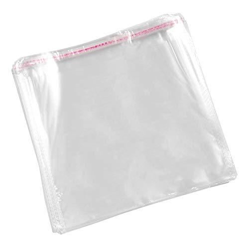 Transparente Zellophanbeutel aus Kunststoff, mit Klebeverschluss (200 Stück, 24 x 24 cm)