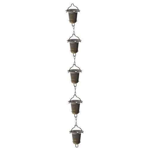 Diyarts Chaîne de pluie pour gouttière en forme de coupe, chaîne de pluie en forme de coupe, anneau en métal pour collecte d'eau, chaîne de vidange de 1 m pour jardin temple villa