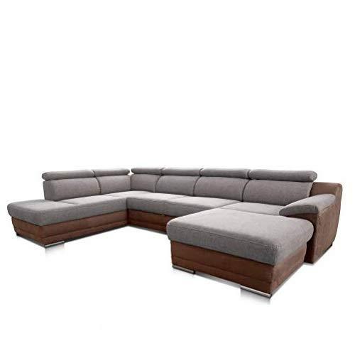 Cavadore Wohnlandschaft Xenit mit Schlaffunktion Kopfteilverstellung / XXL Sofa in U-Form mit Bettfunktion / Modernes Design / Größe: 338 x 81 x 215 cm (BxHxT) / Farbe: Grau - Braun